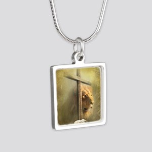 Lion of Judah, Lamb of God Silver Square Necklace