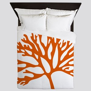 red sea fan coral drawing Queen Duvet