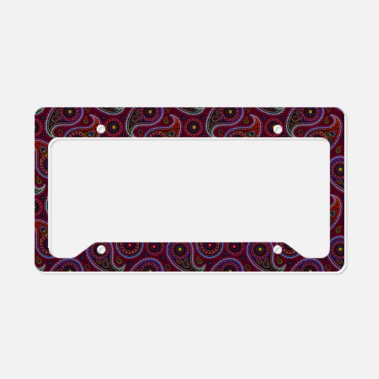 Burgundy Paisley Pattern License Plate Holder