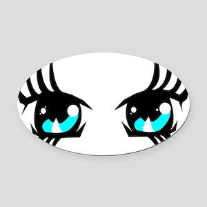 Light Blue anime eyes Oval Car Magnet