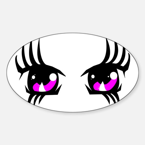 Pink Anime eyes Sticker (Oval)