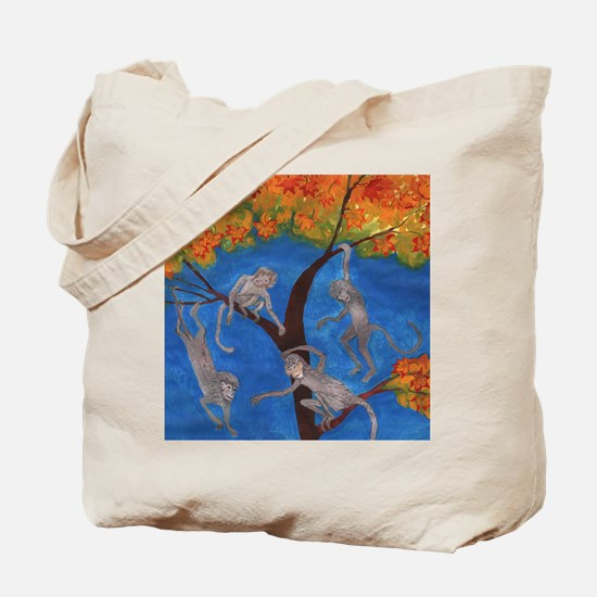 Monkeys hanging around Tote Bag