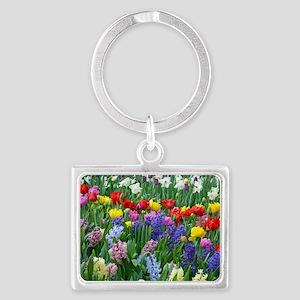 Spring garden flowers Landscape Keychain