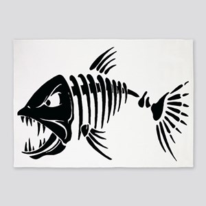 Scary fish 5'x7'Area Rug