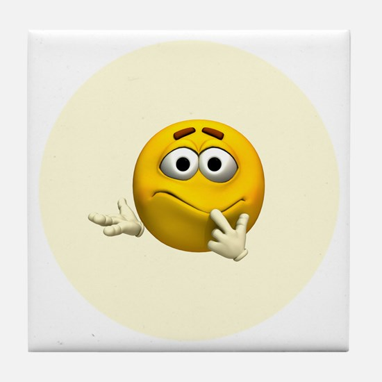 Confused Emoticon Tile Coaster