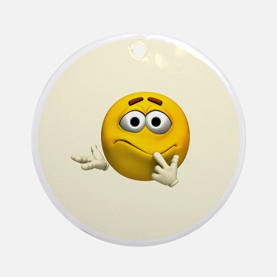 Confused Emoticon Round Ornament