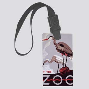 Visit the Zoo Vintage Poster Her Large Luggage Tag