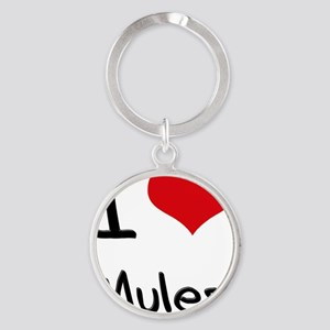 I Love Mules Round Keychain