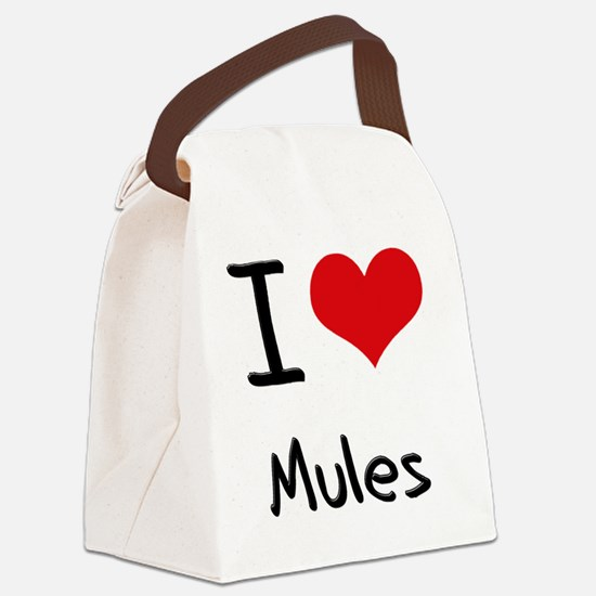 I Love Mules Canvas Lunch Bag