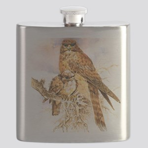 "Birds and Young ""Kestrels"" Peter Bere Design Flask"