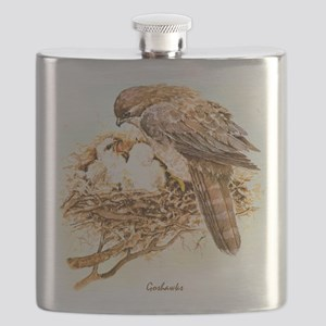 "Birds and Young ""Goshawks"" Peter Bere Design Flask"