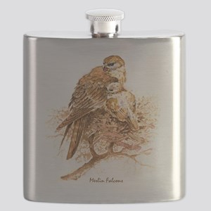 "Birds and Young ""Merlin Falcons"" Peter Bere  Flask"