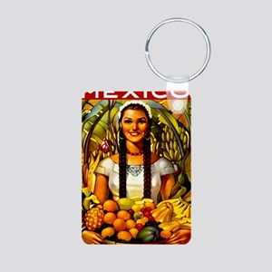 Vintage Mexico Fruit Trave Aluminum Photo Keychain