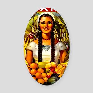 Vintage Mexico Fruit Travel Oval Car Magnet