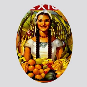 Vintage Mexico Fruit Travel Oval Ornament