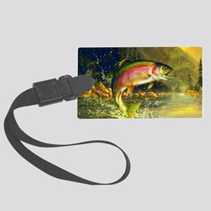 Jumping Rainbow Trout Large Luggage Tag