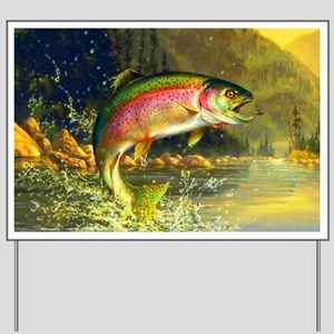 Jumping Rainbow Trout Yard Sign