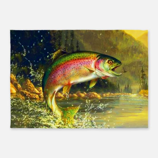 Jumping Rainbow Trout 5'x7'Area Rug