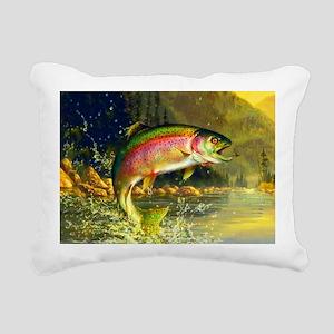 Jumping Rainbow Trout Rectangular Canvas Pillow