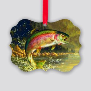Jumping Rainbow Trout Picture Ornament