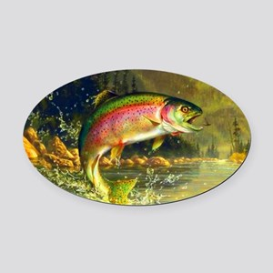 Jumping Rainbow Trout Oval Car Magnet