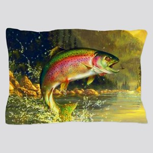 Jumping Rainbow Trout Pillow Case