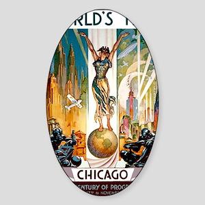 Vintage Chicago Worlds Fair B Sticker (Oval)