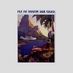 Vintage South Sea Isles Travel 5'x7'Area Rug