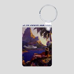 Vintage South Sea Isles Tr Aluminum Photo Keychain