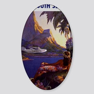 Vintage South Sea Isles Travel Sticker (Oval)