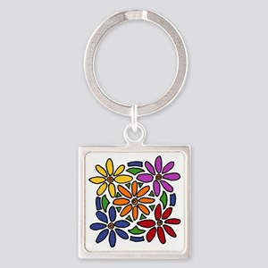Colorful Daisy Floral Art Square Keychain