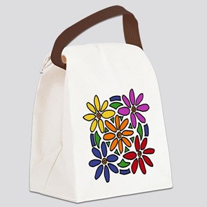 Colorful Daisy Floral Art Canvas Lunch Bag