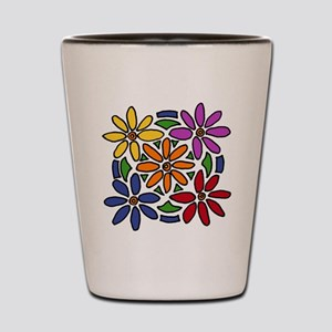 Colorful Daisy Floral Art Shot Glass