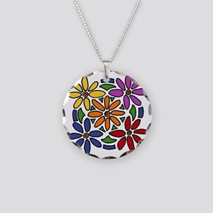 Colorful Daisy Floral Art Necklace Circle Charm