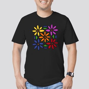 Colorful Daisy Floral  Men's Fitted T-Shirt (dark)