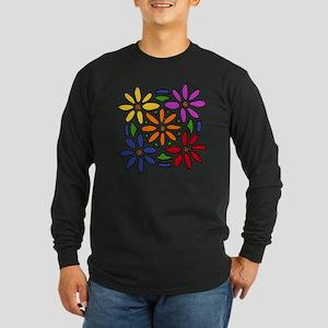 Colorful Daisy Floral Art Long Sleeve Dark T-Shirt