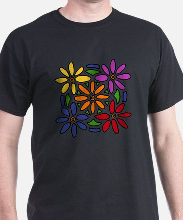 Colorful Daisy Floral Art T-Shirt