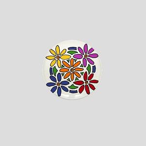 Colorful Daisy Floral Art Mini Button