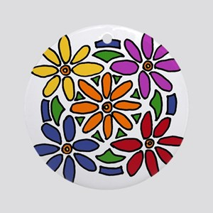 Colorful Daisy Floral Art Round Ornament