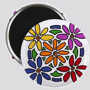 Colorful Daisy Floral Art Magnet