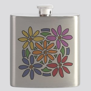 Colorful Daisy Floral Art Flask