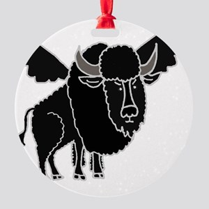 Funny Buffalo with Wings Round Ornament