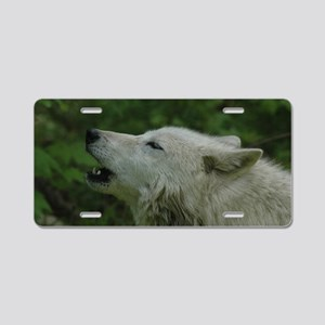 """Howling  Arctic  Wolf"" Aluminum License Plate"