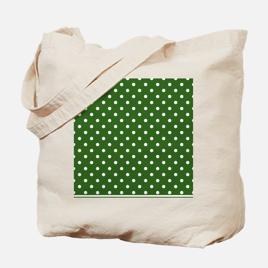green with white dots Tote Bag