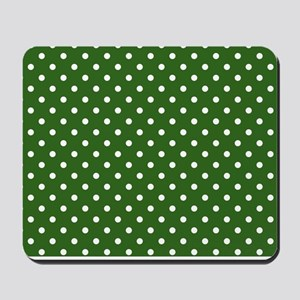 green with white dots Mousepad