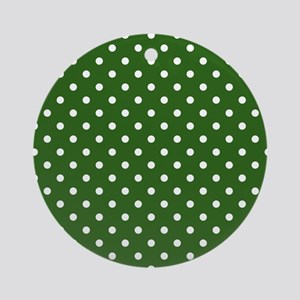 green with white dots Round Ornament