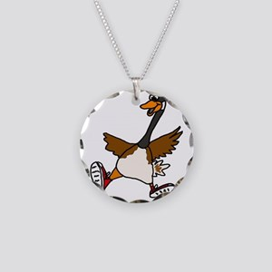 Cute Silly Goose Necklace Circle Charm