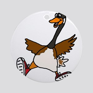Cute Silly Goose Round Ornament