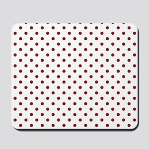white with red dots Mousepad