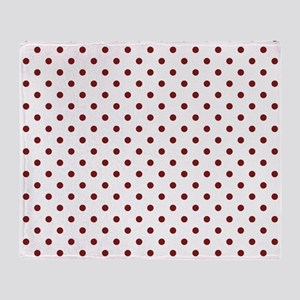 white with red dots Throw Blanket